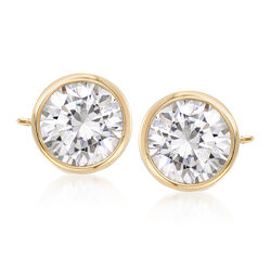 2.00 ct. t.w. Bezel-Set CZ Stud Earrings in 14kt Yellow Gold, , default