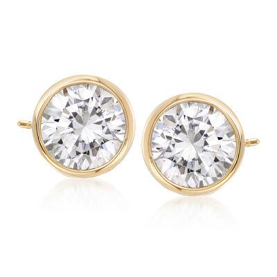 2.00 ct. t.w. Bezel-Set CZ Stud Earrings in 14kt Yellow Gold, , default