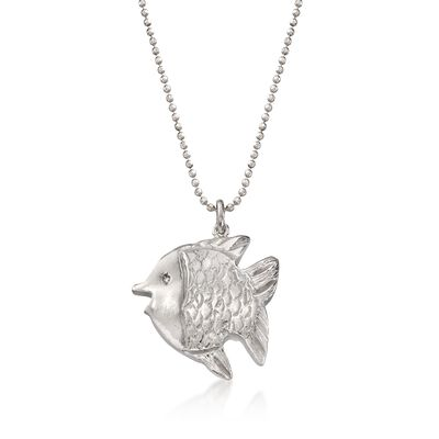Italian Sterling Silver Fish Necklace with CZ Accent, , default