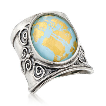 Turquoise and Rock Crystal Ring in Sterling Silver