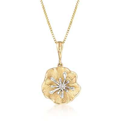 14kt Two-Tone Gold Lily Pad Pendant With Diamond Accent , , default