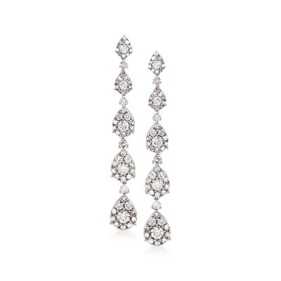 2.18 ct. t.w. Diamond Linear Teardrop Earrings in 14kt White Gold