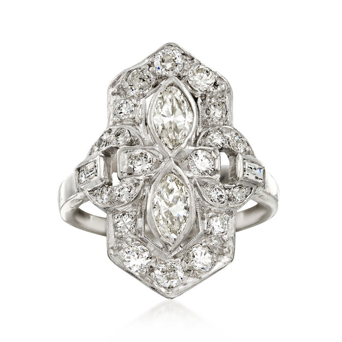 C. 1950 Vintage 1.20 ct. t.w. Diamond Cocktail Ring in Platinum. Size 5