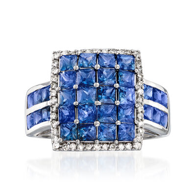 3.50 ct. t.w. Sapphire and .22 ct. t.w. Diamond Ring in 14kt White Gold, , default