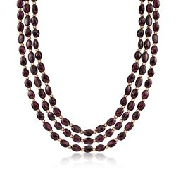 Oval Garnet Triple-Strand Necklace With 14kt Yellow Gold, , default