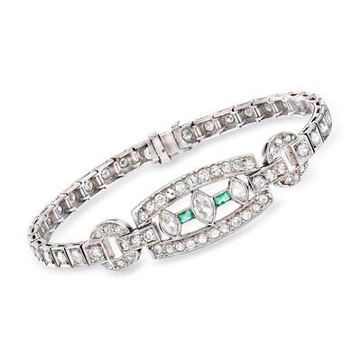 C. 1950 Vintage 3.35 ct. t.w. Diamond and .20 ct. t.w. Emerald Bracelet in Platinum, , default