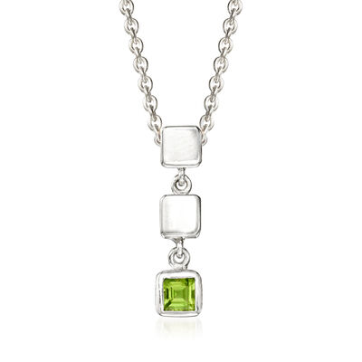 "Zina Sterling Silver ""Ice Cube"" .20 Carat Peridot Drop Pendant Necklace, , default"