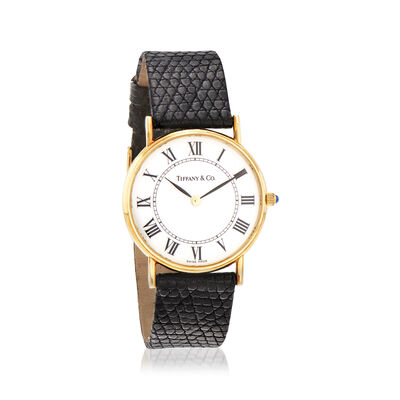 C. 1990 Vintage Tiffany Jewelry Woman's Black Leather Strap 30mm Watch with 14kt Yellow Gold, , default