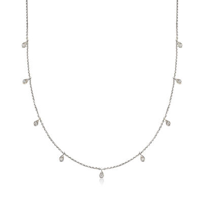.28 ct. t.w. Diamond Station Necklace in 14kt White Gold