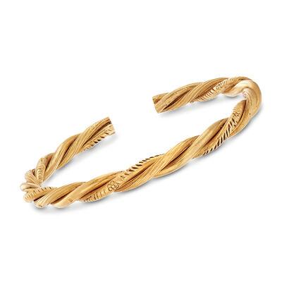 C. 1980 Vintage 22kt Yellow Gold Twisted Cuff Bangle Bracelet