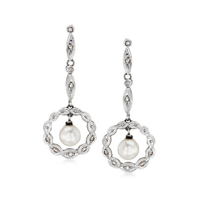 C. 1930 Vintage Cultured Pearl and .20 ct. t.w. Diamond Drop Earrings in 15kt Yellow Gold, , default