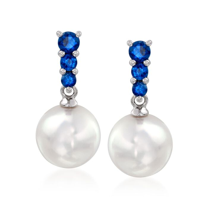 Mikimoto 8mm 'A' Akoya Pearl and .30 ct. t.w. Sapphire Earrings in 18kt White Gold, , default