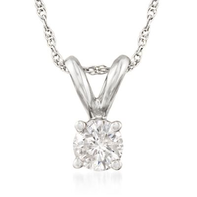 .25 Carat Diamond Solitaire Necklace in 14kt White Gold, , default