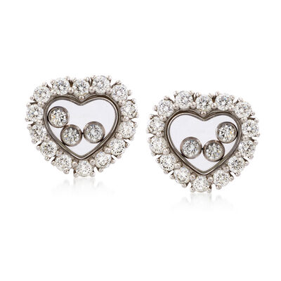 C. 1990 Vintage Chopard Floating Diamond Heart Earrings in 18kt White Gold, , default