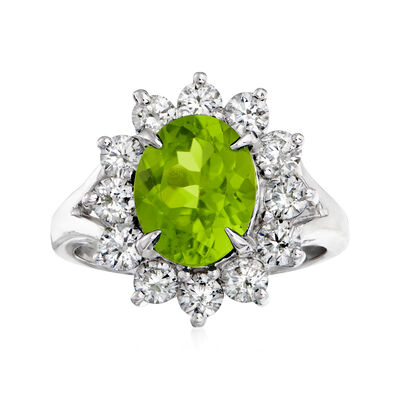 C. 2000 Vintage 3.00 Carat Peridot and 1.26 ct. t.w. Diamond Ring in 18kt White Gold