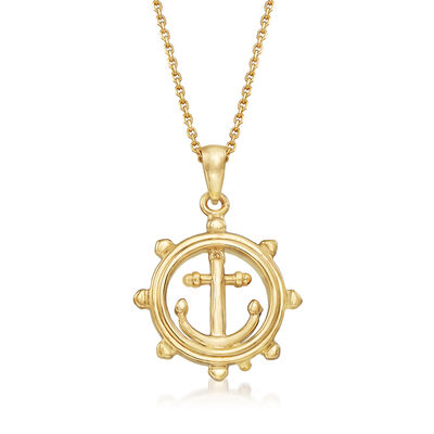 14kt Yellow Gold Boat Helm Pendant Necklace, , default