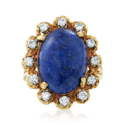C. 1980 Vintage Lapis and .50 ct. t.w. Diamond Ring in 14kt Yellow Gold, , default