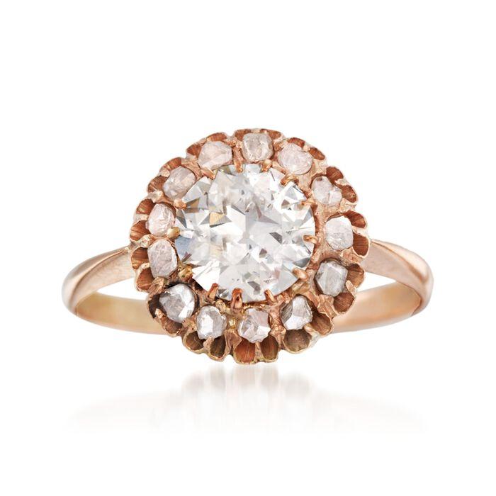 C. 1970 Vintage 1.52 ct. t.w. Diamond Ring in 14kt Rose Gold. Size 7.5, , default