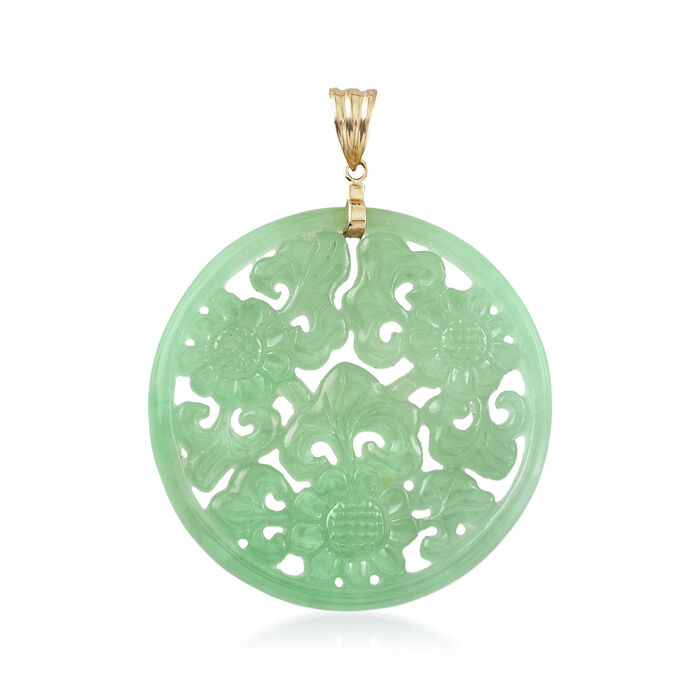 Green Jade Floral Pendant with 14kt Yellow Gold