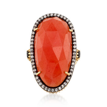 Orange Quartz and .60 ct. t.w. White Topaz Ring With Black Spinel in 18kt Gold Over Sterling, , default