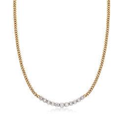 "C. 1990 Vintage 1.25 ct. t.w. Diamond Bib Necklace in 14kt Yellow Gold. 17"", , default"