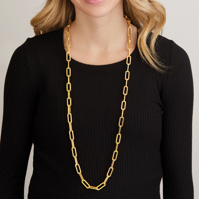 Italian Andiamo 14kt Yellow Gold Paper Clip Link Necklace