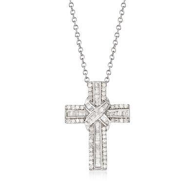 .50 ct. t.w. Diamond Cross Pendant Necklace in Sterling Silver, , default