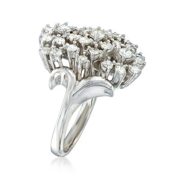 C. 1970 Vintage 1.00 ct. t.w. Diamond Cluster Ring in 14kt White Gold. Size 5