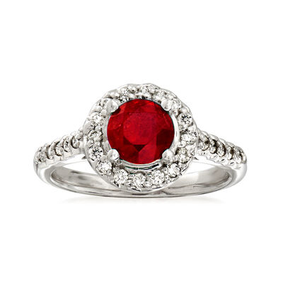 1.30 Carat Ruby and .33 ct. t.w. Diamond Halo Ring in 14kt White Gold, , default