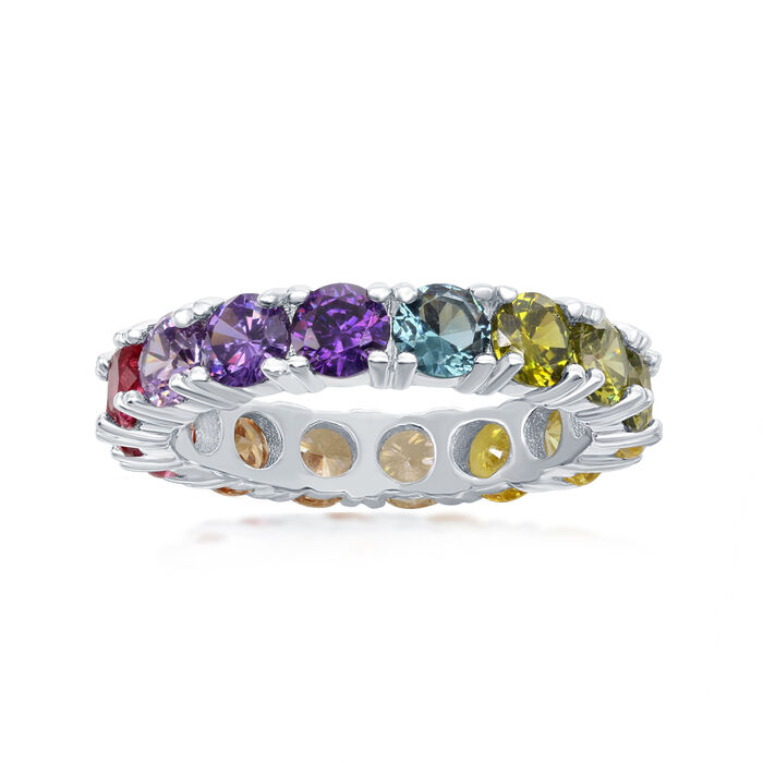 3.70 ct. t.w. Multicolored CZ Eternity Band in Sterling Silver