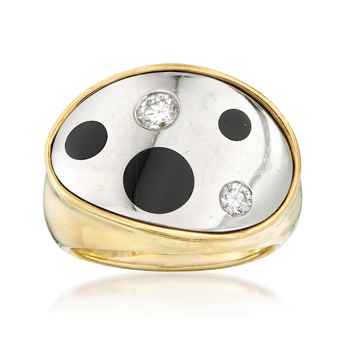 C. 1990 Vintage Black Onyx and .25 ct. t.w. Diamond Ring in 18kt Yellow Gold . Size 6, , default