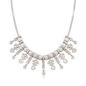 """C. 1990 Vintage 3.75 ct. t.w. Diamond Fleur-De-Lis Bib Necklace in 14kt White Gold. 17.5"""", , default"""