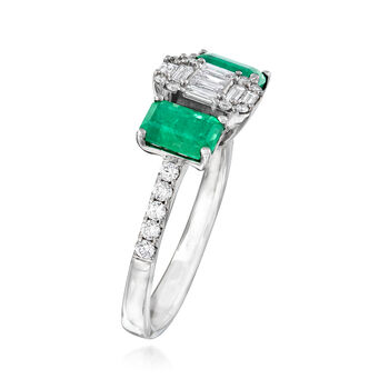 1.20 ct. t.w. Emerald and .40 ct. t.w. Diamond Ring in 14kt White Gold