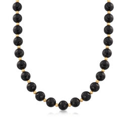 C. 1980 Vintage Black Onyx and 14kt Yellow Gold Beaded Necklace, , default