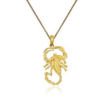 "14kt Yellow Gold Scorpion Pendant Necklace. 18"", , default"