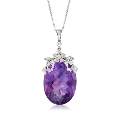 C. 1990 Vintage 48.50 Carat Amethyst and .45 ct. t.w. Diamond Floral Pendant Necklace in 18kt White Gold