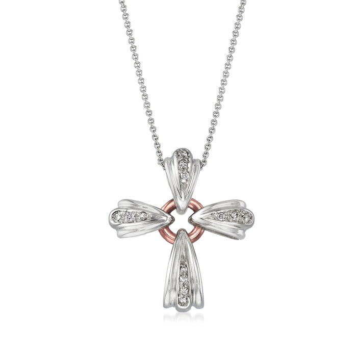 "C. 2000 Vintage Recarlo .12 ct. t.w. Diamond Cross Pendant Necklace in 18kt Two-Tone Gold. 15.75"", , default"