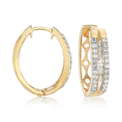 1.00 ct. t.w. Round and Baguette Diamond Three-Row Hoop Earrings in 14kt Gold Over Sterling, , default