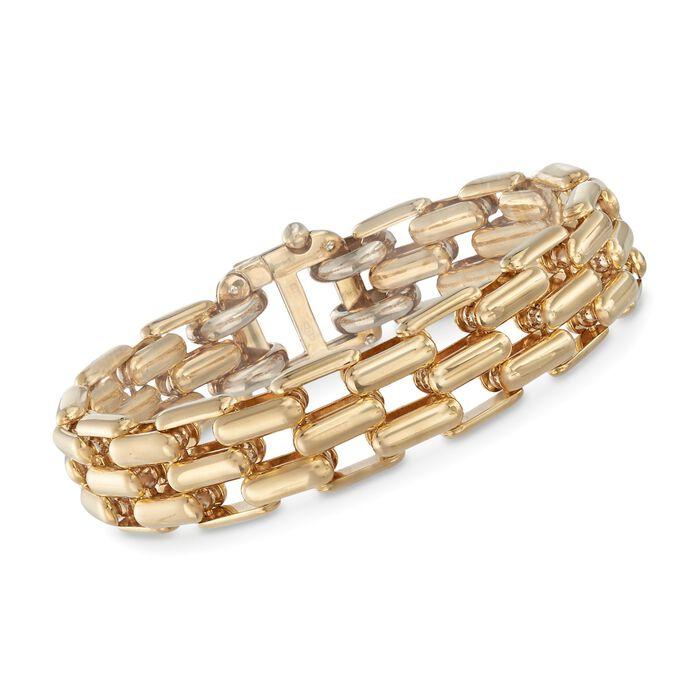 """18kt Yellow Gold Panther-Link Bracelet. 7.25"""", , default"""