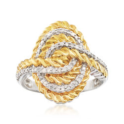.33 ct. t.w. Diamond Rope-Style Ring in Two-Tone Sterling Silver, , default