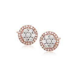 .33 ct. t.w. Diamond Halo Cluster Stud Earrings in 14kt Rose Gold, , default