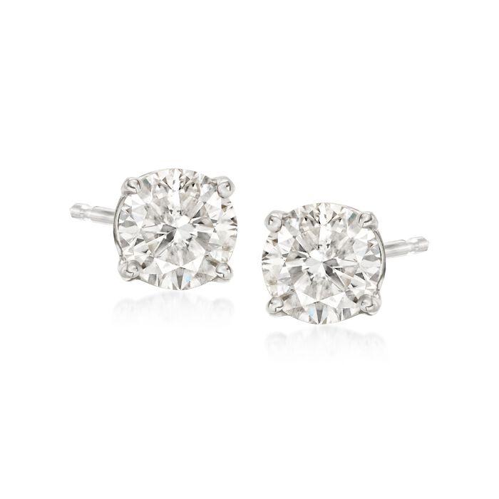 1.00 ct. t.w. Diamond Stud Earrings in 14kt White Gold, , default