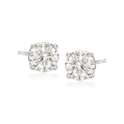 1.00 ct. t.w. Diamond Stud Earrings in 14kt White Gold , , default