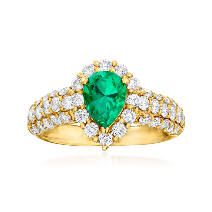 C. 1980 Vintage 1.18 ct. t.w. Diamond and .83 Carat Emerald Ring in 18kt Yellow Gold. Size 5.5