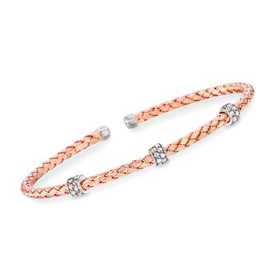 "Charles Garnier ""Torino"" .30 ct. t.w. CZ Cuff Bracelet in 18kt Rose Gold Over Sterling Silver, , default"