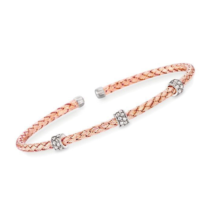 "Charles Garnier ""Torino"" .30 ct. t.w. CZ Cuff Bracelet in 18kt Rose Gold Over Sterling Silver. 7"", , default"