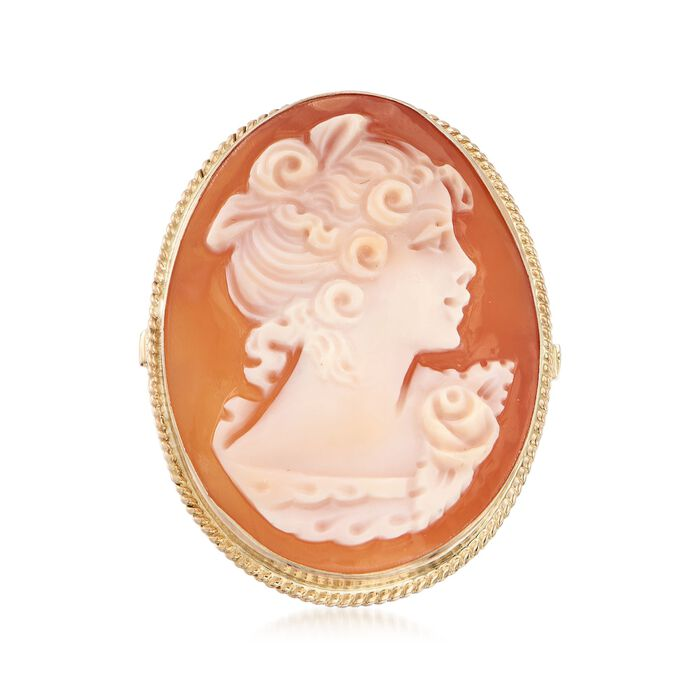 Italian Oval Shell Cameo Ring in 14kt Yellow Gold, , default