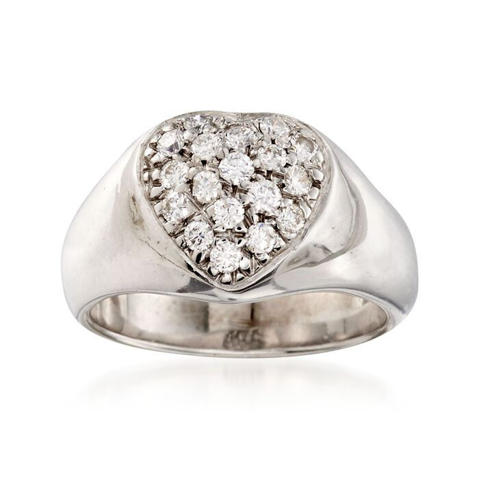 C. 1970 Vintage .45 ct. t.w. Diamond Heart Ring in 14kt White Gold. Size 5.5, , default