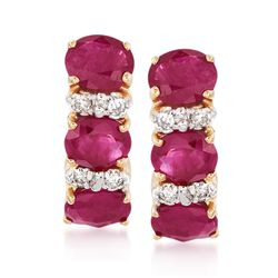 2.40 ct. t.w. Ruby and .12 ct. t.w. Diamond Earrings in 14kt Yellow Gold , , default