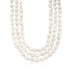 "10-11mm Cultured Pearl Long Endless Necklace. 64"", , default"